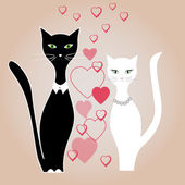 Cat boy and girl cat, love, vector — Stock Vector