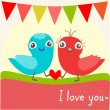 Vector illustration of two little birds in love. — Stock Vector #43886225