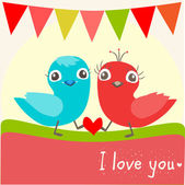 Vector illustration of two little birds in love. — Vettoriale Stock