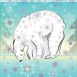 Decorative card with white polar bear — Stockvektor
