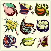 Set of different abstract leaves — Stock Vector