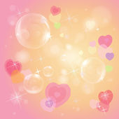 Colorful hearts and bubbles — Vector de stock