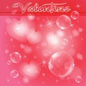 Light hearts and bubbles on red — Vector de stock