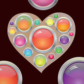 Abstract heart with colored buttons — Stock Vector