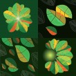 Four compositions with abstract leaves — Stock Vector #45920605