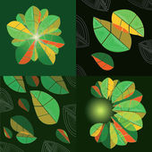 Four compositions with abstract leaves — Stock Vector