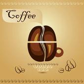 コーヒー豆とコーヒー カップ — ストックベクタ