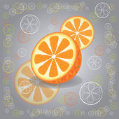 Three oranges on gray background — Cтоковый вектор
