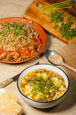 Soup and buckwheat — Stock Photo