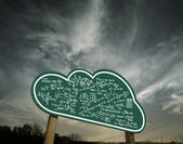 Cloud sign board with mathematic — Stock Photo