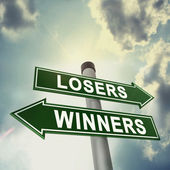 Winner or loser signboard — Stock Photo