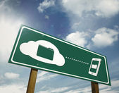 Clouding file sharing sign board — Stock Photo