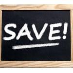 Saving promotion in blackboard — Stock Photo #46459975