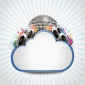 Internet-wolke mit musik-sharing — Stockfoto