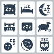 Vector isolated sleep concept icons set: pillow, bed, moon, sheep, owl, zzz — Image vectorielle