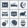 Vector isolated sleep concept icons set: pillow, bed, moon, sheep, owl, zzz — Imagen vectorial