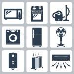 Vector major appliances icons set — Stock Vector