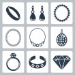 Vector isolated jewelry icons set — Stock Vector
