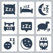 Sono isolado conceito conjunto de ícones do vetor: almofada, cama, lua, ovelhas, coruja, zzz — Vetor de Stock