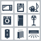 Vector major appliances icons set — Stock Vector