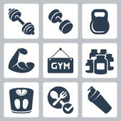 Vector isolated bodybuilding and fitness icons set — Stock Vector