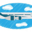 airplane in the sky — Stock Vector