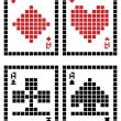 Pixel playing cards — Stock Vector