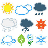 Weather and seasons. Vector set — Stock Vector
