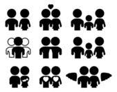Conjunto de la silueta de la familia y las relaciones — Vector de stock