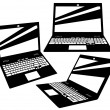 Vector laptop silhouettes on white background — Stock Vector