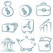 Vector sketch money icons — Stock Vector