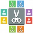 Stock Vector: Vector scissors icons - 'almost flat' style