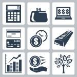 Dark blue money icons vector set — Stock Vector #34988999