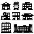 Vector set of various buildings — Stock Vector