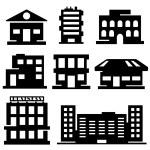 Vector set of various buildings — Stock Vector