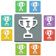 Vector winner's cup icons - 'almost flat' style - 9 colors — Stock Vector