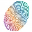 Vector many-coloured fingerprint on white background — Stock Vector