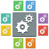 Vector gears icons - 'almost flat' style — Stock Vector