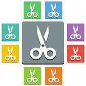 Vector scissors icons - 'almost flat' style — Stock Vector