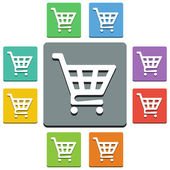 Vector shopping cart icons - 'almost flat' style — Stock Vector