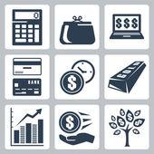Dark blue money icons vector set — Stock Vector