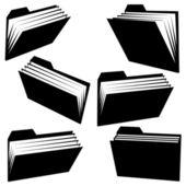 Vector folder silhouettes on white background — Stock Vector