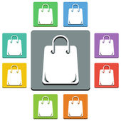 Vector shopping bag icons - 'almost flat' style - 9 colors — Stock Vector