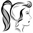 Vector illustration of girl head with a ponytail — Stok Vektör