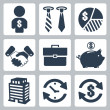 Vector isolated money icons set — Stock Vector