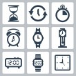 Vector isolated clocks icons set — Imagens vectoriais em stock