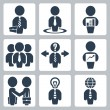 Vector isolated businessman icons set — Stock Vector