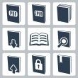 Vector isolated books icons set — Stock Vector