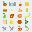 Vector food icons set in flat style — Stock Vector
