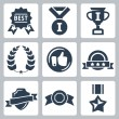 Vector isolated awards icons set — Stock Vector #34991375